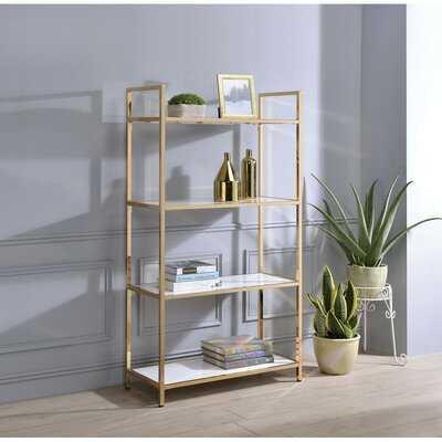 Bookshelf In White High Gloss & Gold - Wayfair