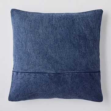 "Cotton Canvas Pillow Cover, 24""x24"", Midnight - West Elm"