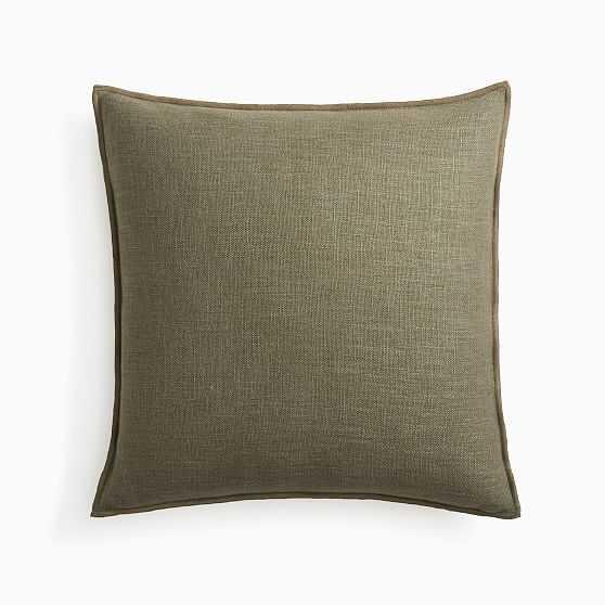 "Classic Linen Pillow Cover, 20"" x 20"", Dark Olive, Set of 2 - West Elm"