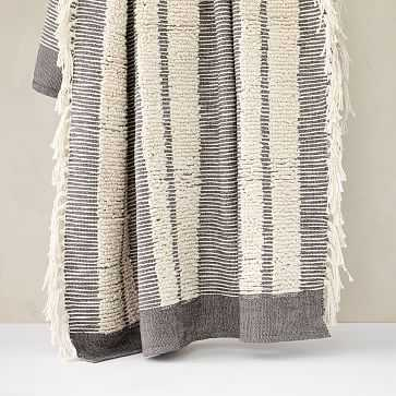 """Tufted Lines Throw, 50""""x60"""", Pewter - West Elm"""
