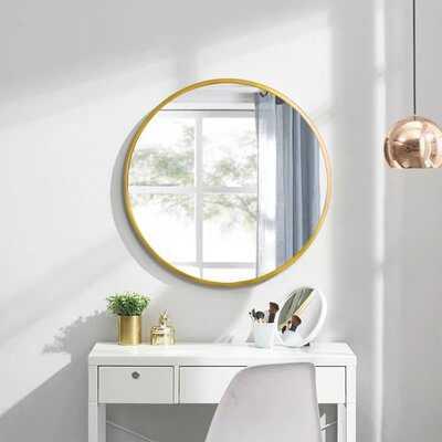 "28"" Wall Circle Mirror Large Round Gold Farmhouse Circular Mirror For Wall Decor Big Bathroom Make Up Vanity Mirror Entryway Mirror - Wayfair"