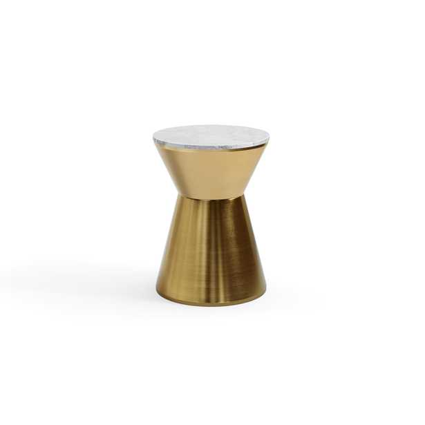 The Kettle Side Table in Brass with Marble Top - Burrow