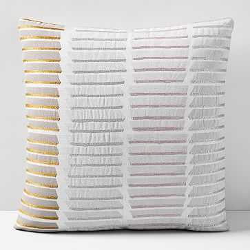 """Stacked Lines Pillow Cover, 18""""x18"""", Frost Gray - West Elm"""