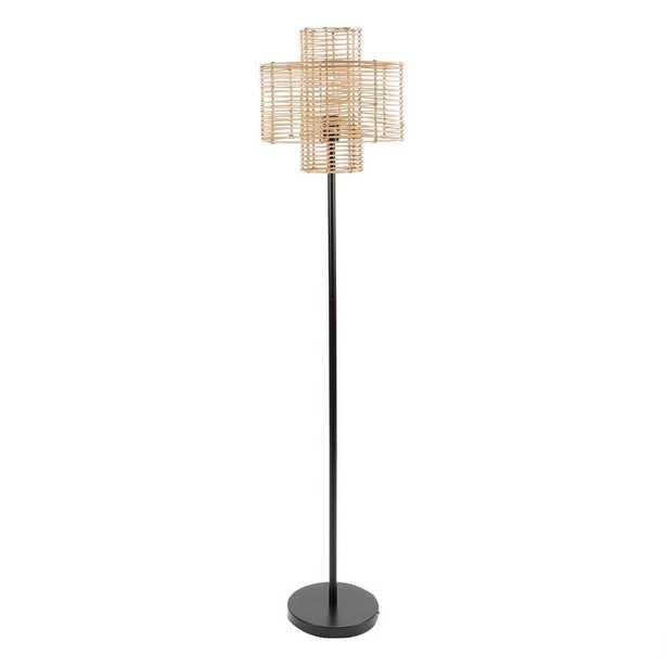 Silverwood Furniture Reimagined Cyndi 64 in. Black and Tan Rattan Floor Lamp - Home Depot