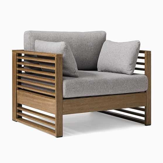 Santa Fe Slatted Lounge Chair, Driftwood/Gray - West Elm
