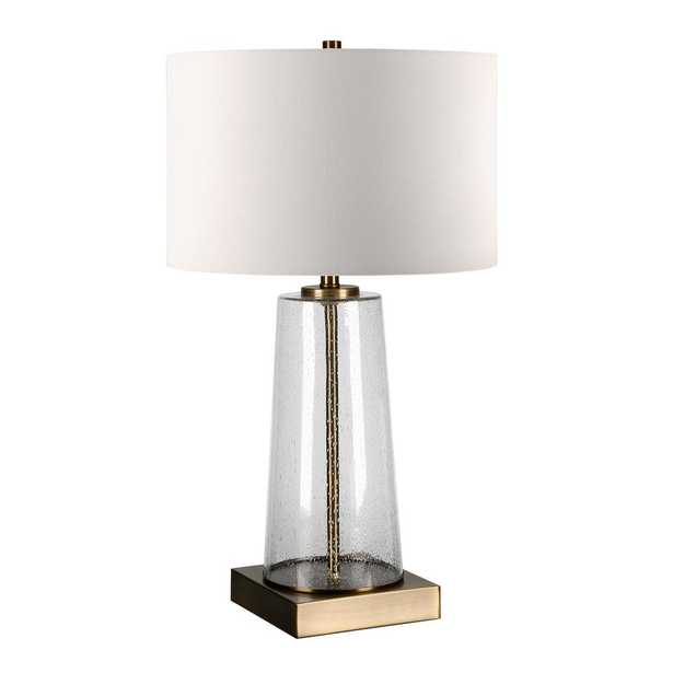 """Hudson&Canal Dax 25-1/8"""" Tapered Seeded Glass Brass Accents Table Lamp - Home Depot"""