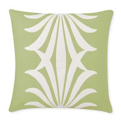 "Acanthus Linen Reversible Velvet Applique Pillow Cover, 22"" X 22"", Green - Williams Sonoma"