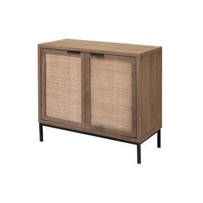 Aniston 2 Door Accent Cabinet In Washed Wood & Black Metal - Wayfair