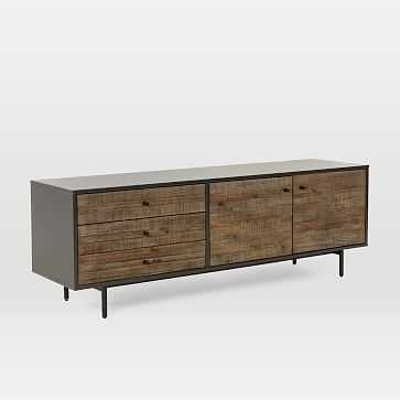"""Reclaimed Wood + Lacquer Media Console (70"""") - Stone Gray - West Elm"""