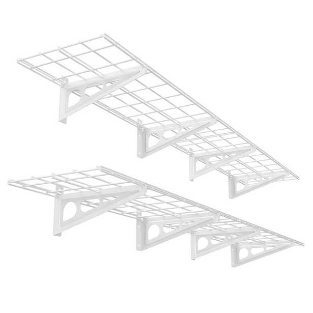 FLEXIMOUNTS 12 in. x 72 in. 2-Pack White Steel Garage Wall Shelves with Brackets - Home Depot