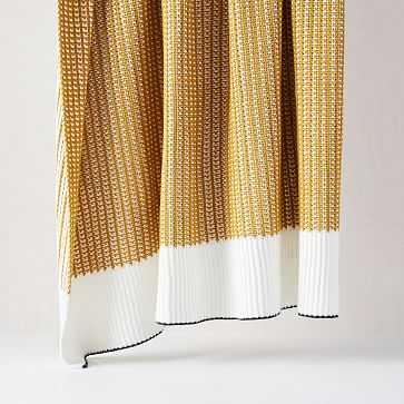 "Cotton Stripe Edge Throw, 50""x60"", Dark Horseradish - West Elm"