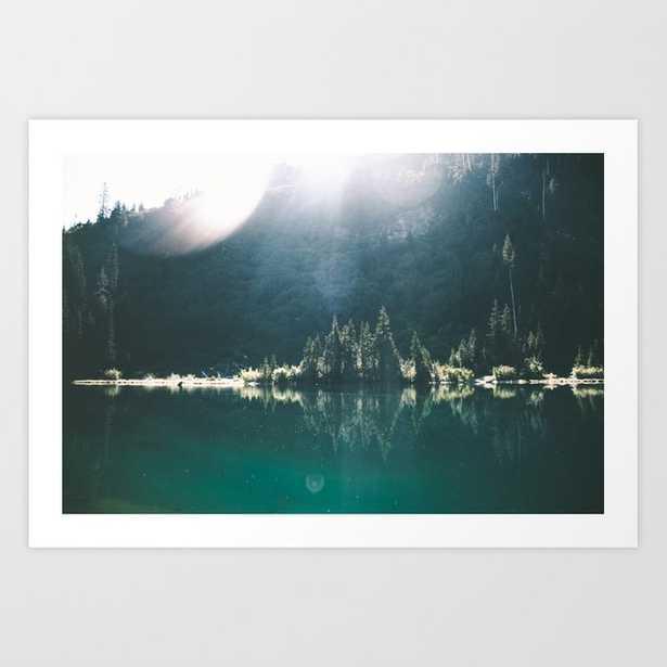 Blue Lake Art Print by Hannah Kemp - X-LARGE - Society6