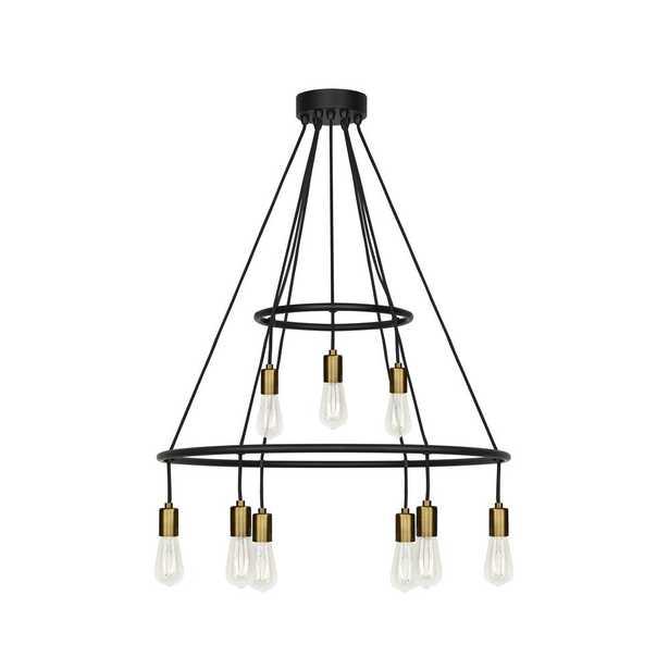LBL Lighting Tae 9-Light Black/Aged Brass Chandelier - Home Depot