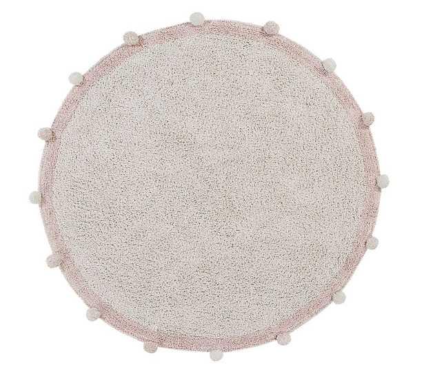 Pom-Pom Round Washable Cotton Rug, Dark Blush, 4' Round - Pottery Barn Kids