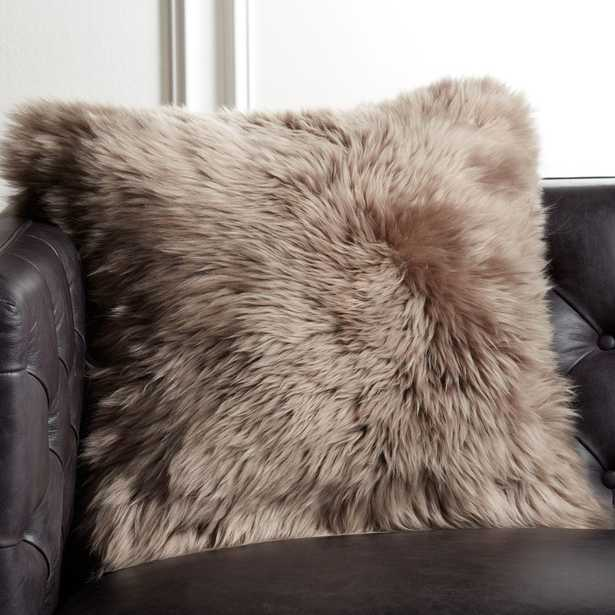 """20"""" Brown Icelandic Sheepskin Pillow with Feather-Down Insert - CB2"""