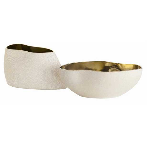 2 Piece Porcelain Abstract Decorative Bowl Set in Ivory/Black/Gold - Perigold