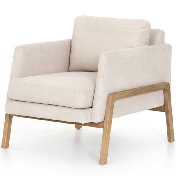 Macy Modern Classic White Upholstered Wood Arm Chair - Kathy Kuo Home