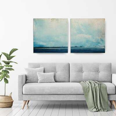 'Abstract Landscape' 2 Piece Wrapped Canvas Print Set on Canvas - Birch Lane