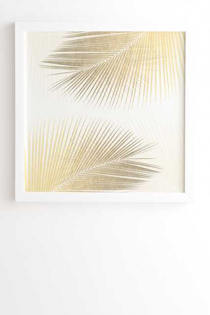 """Palm Leaf Synchronicity Gold by Gale Switzer - Framed Wall Art Basic White 19"""" x 22.4"""" - Wander Print Co."""