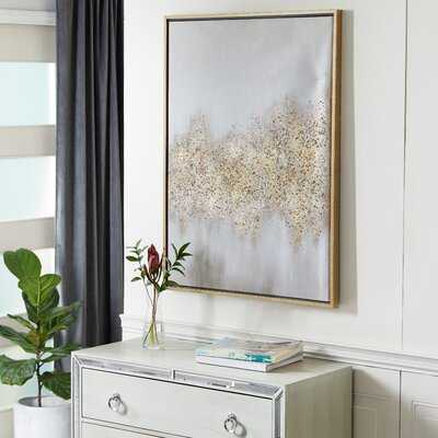 """Rectangular Gold And Grey Abstract Textured Canvas Wall Art With Gold Wood Frame, 30"""" X 40"""" - Picture Frame Painting on Canvas - Wayfair"""