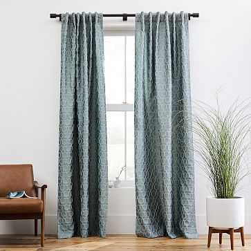 "Honeycomb Jacquard Curtain, Stormy Sea, 48""x96"" - West Elm"
