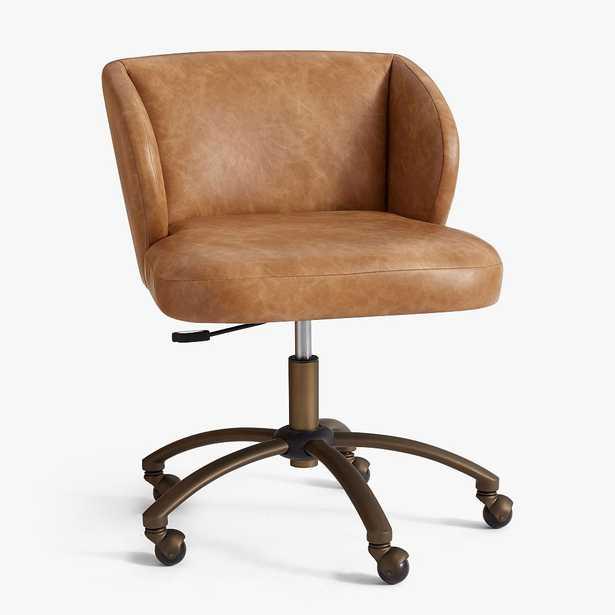 Vegan Leather Caramel Wingback Swivel Desk Chair - Pottery Barn Teen