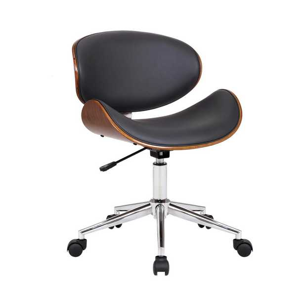 Armen Living Daphne Modern Office Chair In Chrome Finish with Gray Faux Leather And Walnut Veneer Back, Gray/Walnut - Home Depot