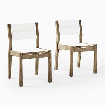 Portside Outdoor Textaline Dining Chairs, Driftwood, Set of 2 - West Elm
