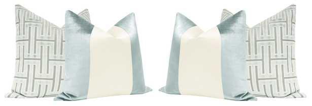 #LDCSets :: Grecian Cut Velvet // Spa Blue + PANEL Colorblock :: Faux Silk Velvet // Spa Blue + Alabaster Silk - Default Title - Little Design Company