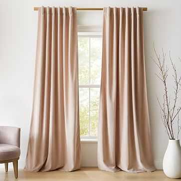 "Textured Upholstery Velvet Curtain, Dusty Blush , 48""x108"" - West Elm"