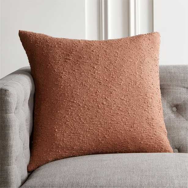 "23"" Boucle Mocha Pillow with Down-Alternative Insert - CB2"