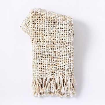 Marled Basketweave Throw, White - West Elm