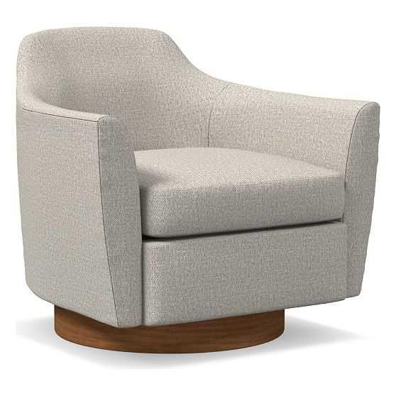 Haven Swivel Chair, Poly, Twill, Stone, Dark Walnut - West Elm