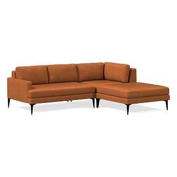 Andes Sectional Set 04: Left Arm 2 Seater Sofa, Corner, Ottoman, Vegan Leather, Saddle, Dark Pewter, Poly - West Elm