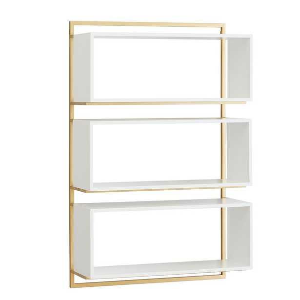 Modern Wall Bookcase, White/Gold - Pottery Barn Teen