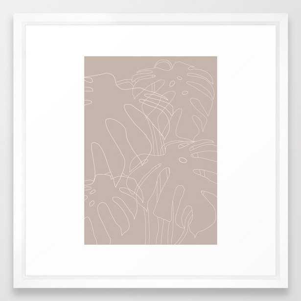 Monstera No2 Beige Framed Art Print by The Old Art Studio - Vector White - MEDIUM (Gallery)-22x22 - Society6