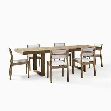 Portside Outdoor Expandable Dining Table + 6 Textilene Chairs Set, Weathered Grey - West Elm