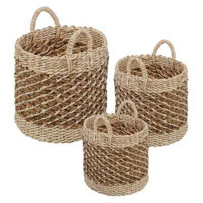 Wicker 3 Piece Nesting Storage Basket Set - Wayfair