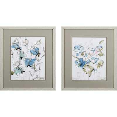 Set Of 2 Dainty Pastel Floral Framed Art - Wayfair