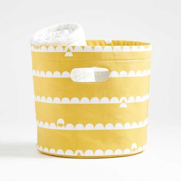 Yellow Striped Round Storage Bin - Crate and Barrel