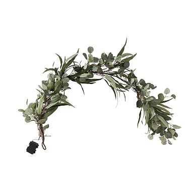 Pre-Lit Eucalyptus & Olive Garland, Green - Pottery Barn