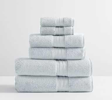 Hydrocotton Organic Bath, Hand, & Washcloth Towels, Set of 6, Porcelain Blue - Pottery Barn