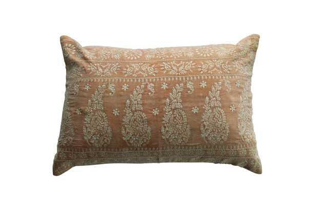 Ivory Cotton Velvet Embroidered Lumbar Pillow - Moss & Wilder