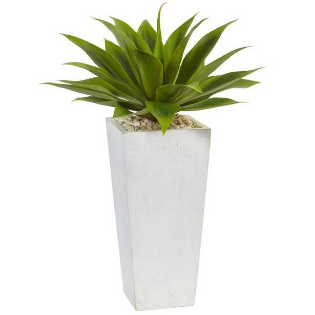 Indoor Agave Artificial Plant in White Planter - Home Depot