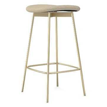 Modern Petal Backless Counter Stool, Performance Coastal Linen, Oatmeal, Light Bronze - West Elm