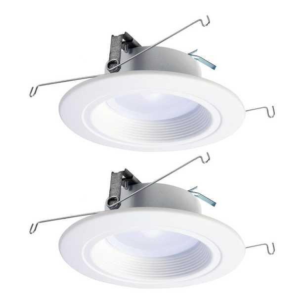 Halo RL 5 in. and 6 in. Selectable CCT Integrated LED White Recessed Ceiling Light Trim Extra Brightness 940 Lumens (2-Packs) - Home Depot