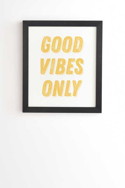 """Good Vibes Only Bold Typograph by June Journal - Framed Wall Art Basic Black 8"""" x 9.5"""" - Wander Print Co."""