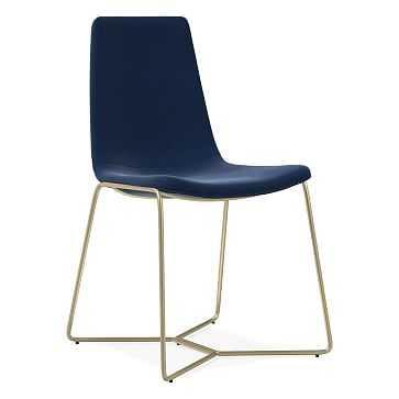 Slope Dining Chair, Performance Velvet, Ink Blue, Light Bronze - West Elm