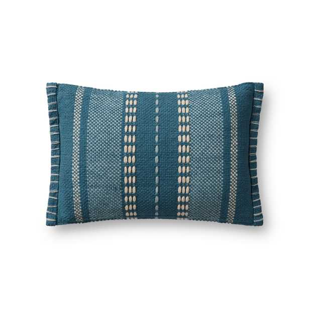 """PILLOWS P1172 NATURAL / BLUE 13"""" x 21"""" Cover w/Poly - Magnolia Home by Joana Gaines Crafted by Loloi Rugs"""