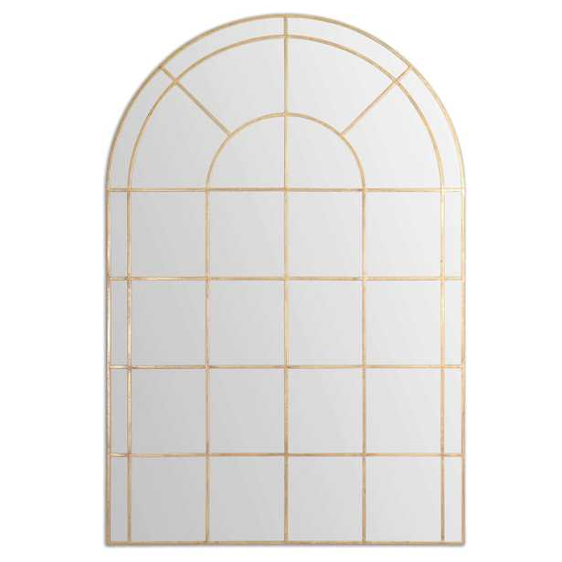 Anthony French Country Gold Metal Arched Floor Mirror - Kathy Kuo Home